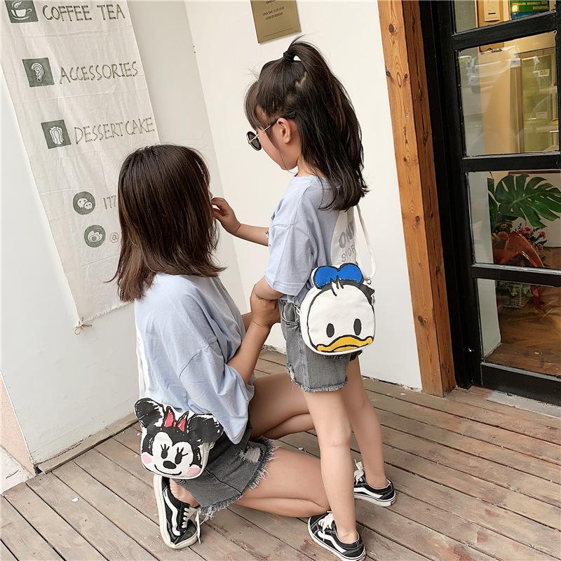 唐老鸭米妮涂鸦帆布亲子斜挎包零钱包手机包化妆包单肩包背包
