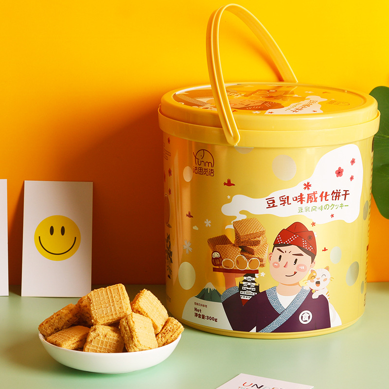 小红书推荐 法思觅语豆乳威化饼干桶装300g网红零食