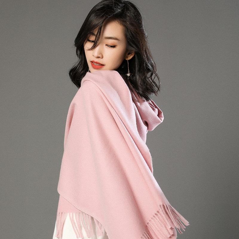 蒙丹米尔围巾女冬季长款韩版女纯色羊毛羊绒围巾保暖披肩(图13)