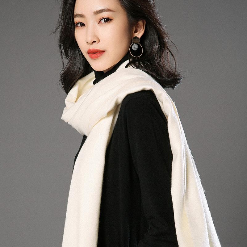 蒙丹米尔围巾女冬季长款韩版女纯色羊毛羊绒围巾保暖披肩(图3)