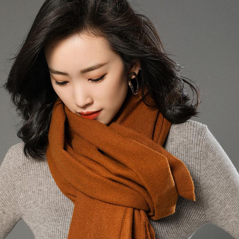 蒙丹米尔围巾女冬季长款韩版女纯色羊毛羊绒围巾保暖披肩(图20)