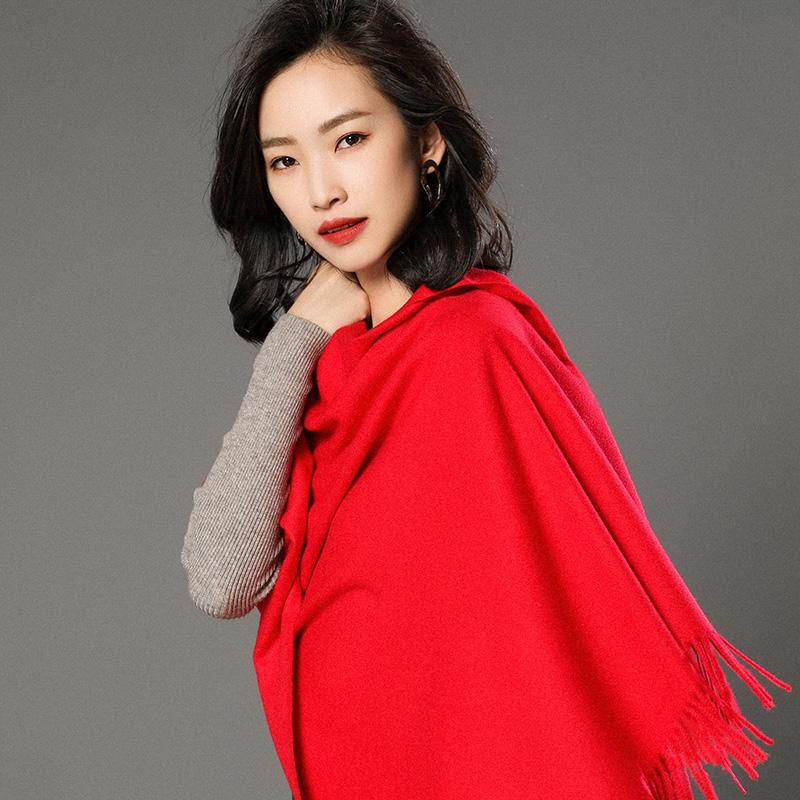 蒙丹米尔围巾女冬季长款韩版女纯色羊毛羊绒围巾保暖披肩(图9)