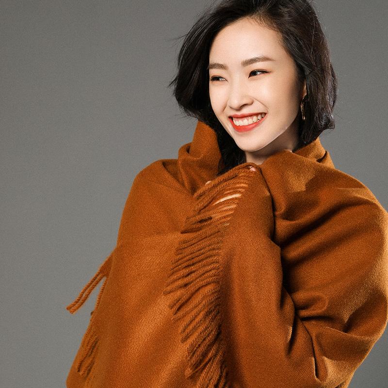 蒙丹米尔围巾女冬季长款韩版女纯色羊毛羊绒围巾保暖披肩(图21)