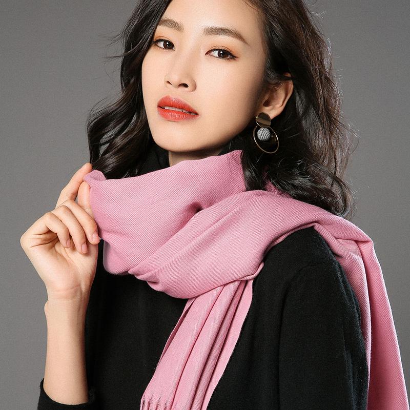 蒙丹米尔围巾女冬季长款韩版女纯色羊毛羊绒围巾保暖披肩(图32)