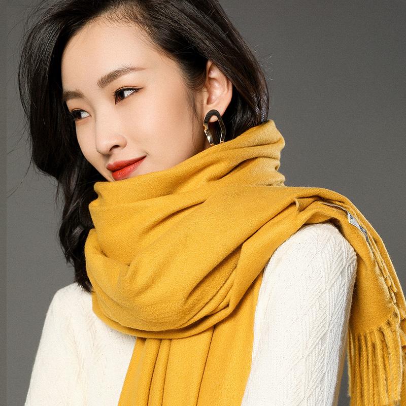 蒙丹米尔围巾女冬季长款韩版女纯色羊毛羊绒围巾保暖披肩(图17)