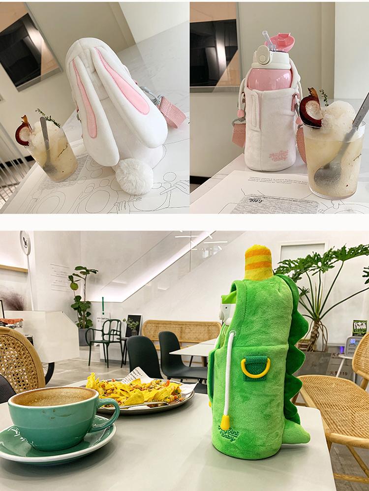 ALL-JOINT优仅网红儿童保温杯吸管水杯便携可爱兔子恐龙杯子女