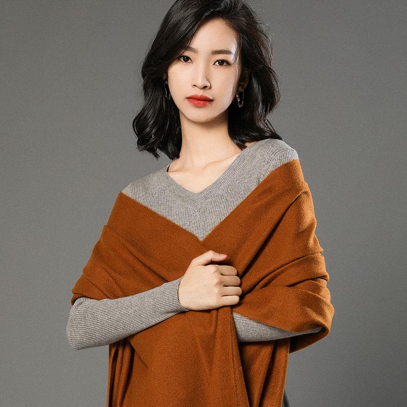 蒙丹米尔围巾女冬季长款韩版女纯色羊毛羊绒围巾保暖披肩(图19)