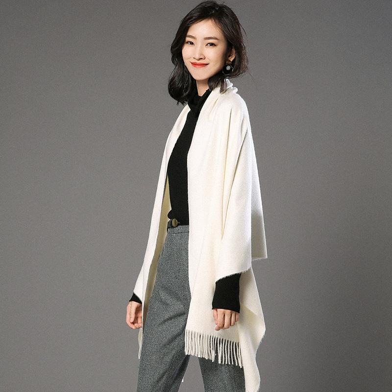 蒙丹米尔围巾女冬季长款韩版女纯色羊毛羊绒围巾保暖披肩(图1)